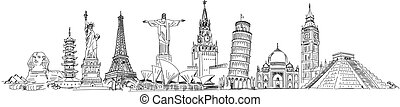 Attractions of the world - Big Ben, Cristo Redentor, Eiffel...