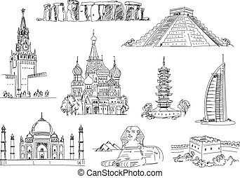 Attractions of the world. Freehand drawing. Vector...