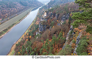 Elbe river, Germany - Elbe river in Saxon Switzerland in...