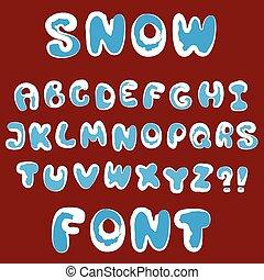 Vector snow alphabet - Christmas snow alphabet for design...