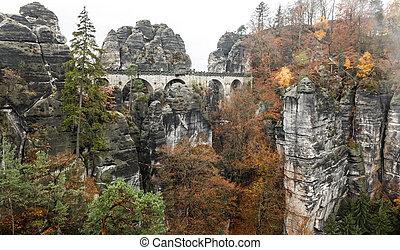 Bastei bridge in Saxon Switzerland, Germany - Bastei bridge...