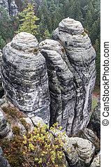 Rock formation at Saxon Switzerland, Germany - Rock...