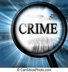 crime on a blue background with a magnifier