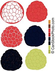 Collection with raspberries and blackberries with palette of...