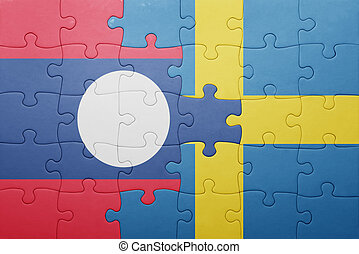 puzzle with the national flag of sweden and laos