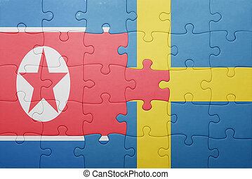 puzzle with the national flag of sweden and north korea -...