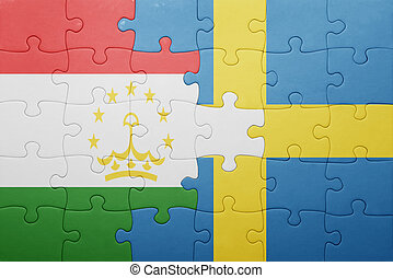 puzzle with the national flag of sweden and tajikistan...