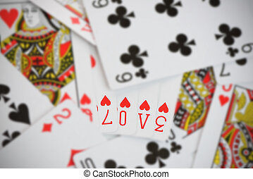 Love on Playing Cards - The word Love made up from generic...