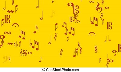 Music notes red on gold - musical notes animation in red on...