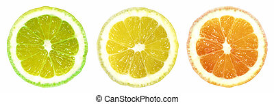 Citrus Trafficlight on White Background - Lime, Lemon<...