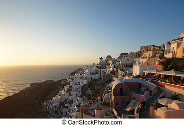 Beautiful ancient style buildings on the hill on Santorini...