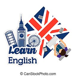 learn english design - learn english design, vector...