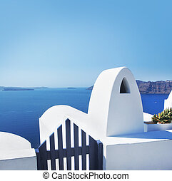 View of azure Mediterranean sea from balcony on Santorini...
