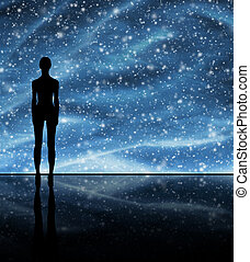 Human shape over the stellar background. Space traveling and...