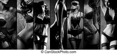 Sexy girls in erotic lingerie. Underwear collection in black...