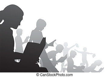 Book kids - Editable vector foreground illustration of...