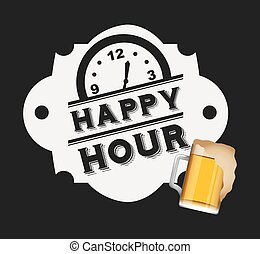 happy hour design - happy hour design, vector illustration...