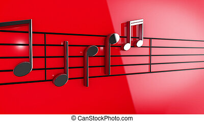Music notes on staves - 3D Music notes on staves on red...