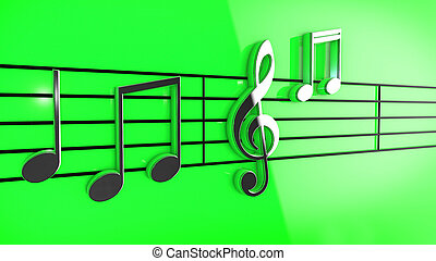 Music notes on staves - 3D Music notes on staves on green...