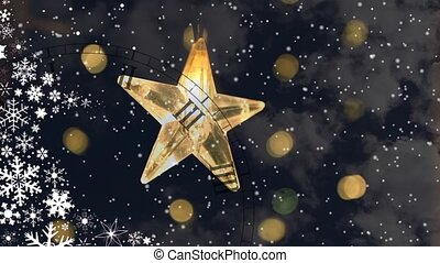 Christmas Star decorations with particles of snow