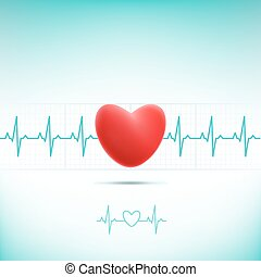 red heart cardiogram