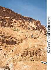 Cable car at Masada - Masada - ancient fortress in the South...
