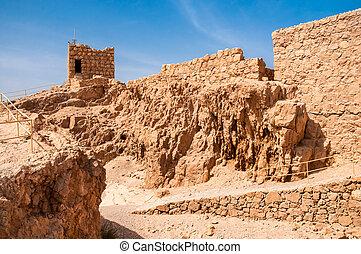 Ruins of fortress Masada, Israel sunny day - Masada -...