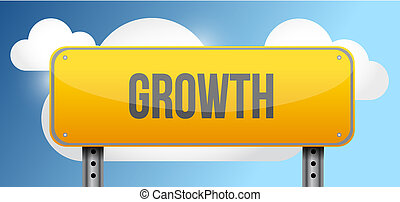 growth yellow street road sign illustration design