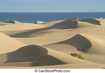 Sand dunes and sea against clear blue sky