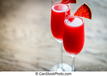 mimosa, due,  cocktail, occhiali