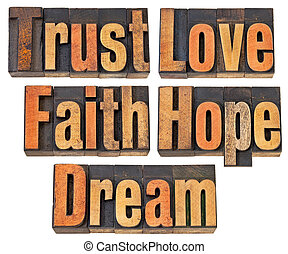 trust, love, faith, hope and dream