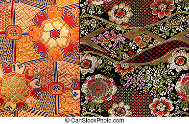 beautiful colored fragment of cloth embroidered with a...