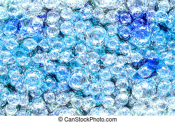 Abstract transparent blue balls - Abstract watercolor...
