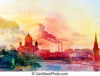 landscape of the Cathedral Christ - watercolor landscape of...