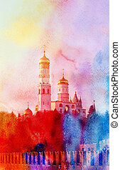 Ivan the Great Bell Tower in Moscow - Watercolor beautiful...