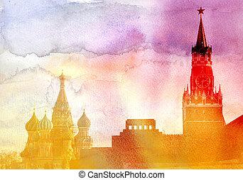 Moscow russian Kremlin - Moscow Kremlin, Lenin mausoleum and...