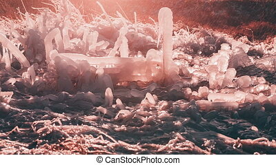 Unusual forms of rose quartz color ice and water splashing...