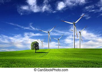 energía, limpio, viento