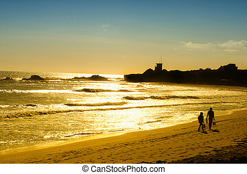 Sunset on Pacific Ocean in California - Sunset on the...