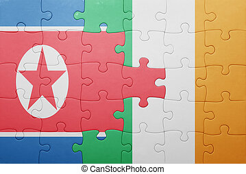 puzzle with the national flag of ireland and north korea...