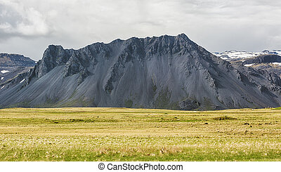 Black mountain in Iceland - Landscape with black mountain in...