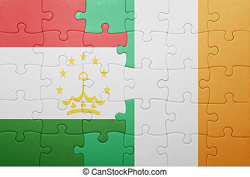 puzzle with the national flag of ireland and tajikistan ....