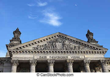 Berlin Reichstag - Front view of Reichstag in Berlin with...