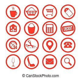 Store Icon Collection - A collection of red circle store...