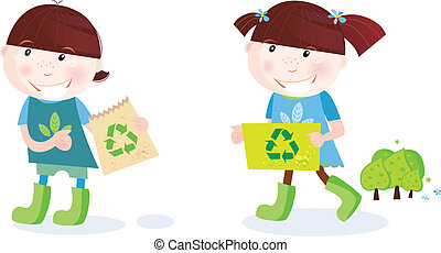 School childrens with recycle symbol - Recycle and save...