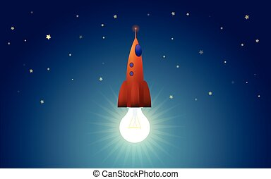Lightbulb as reactive engine of startup rocket - metaphor...