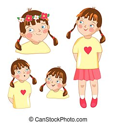 Little girl - different poses, face