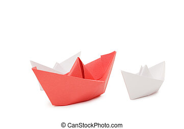 Paper ships isolated on white background
