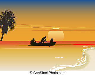 rowboat on sea - vector illustration of a rowboat with...