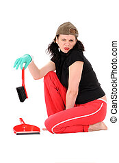 Discontent - The dissatisfied woman makes cleaning isolated...